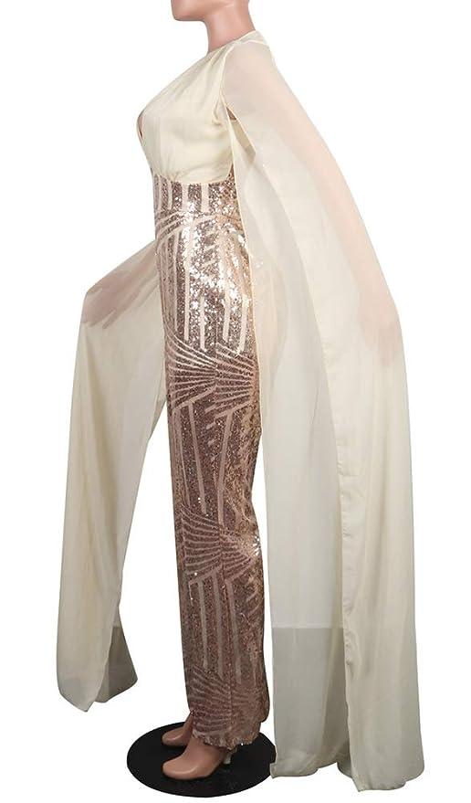 1d1632cddbd73 Amazon.com  Aleng Women s Sexy Sequin Glitter Mesh Deep V Neck Split Floor  Length Sleeve Cape Backless Wide Leg Pants Jumpsuit Romper  Clothing
