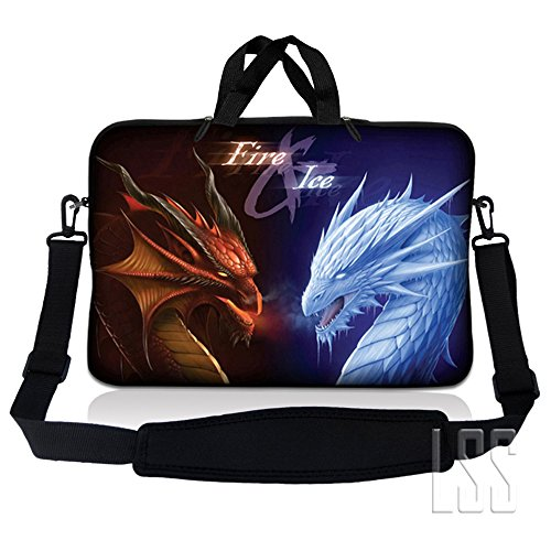 LSS 13.3 inch Laptop Sleeve Bag Compatible with Acer, Asus, Dell, HP, Sony, MacBook and more | Carrying Case Pouch w/ Handle & Adjustable Shoulder Strap, Fire &Ice Dragons (Samsung Chromebook 2 11-6 Inch Classic White)