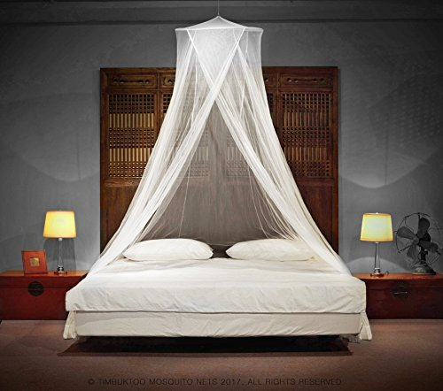 TIMBUKTOO MOSQUITO NETS LUXURY MOSQUITO NET - for Single to King Size Beds - by Quick and Easy Installation System - Unique Internal Loop - 2 Entries - Ripstop Stuff Sack - No Added Chemicals.