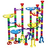 Marble Run Set, Glonova 127 Pcs Marble Race Track for Kids with Glass Marbles Upgrade Marble Set