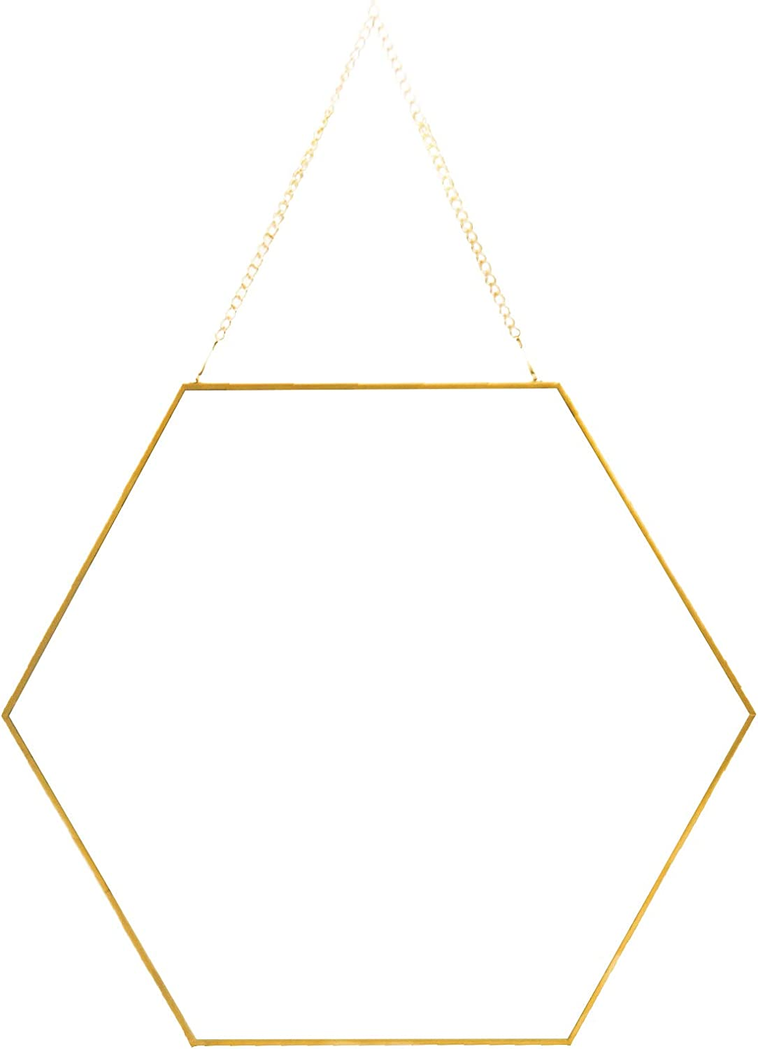 Hanging Hexagon Wall Mirror for Bathroom Living Room Bedroom, Small Gold Wall Mirror Décor with Chain, Decorative Gold Geometry Vanity Mirror with Chain Wall Mounted (13.39x15.75 inch)