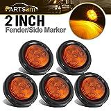 Partsam 5pcs 2'' Amber Round Sealed Clearance Marker Light 4 LED Mount Grommet/Pigtails