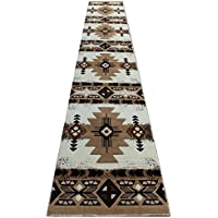 Champion Rugs Southwestern Native American Area Rug Geometric Ivory Design #CR117 (32 Inch X 15 Feet 6 Inch Runner)