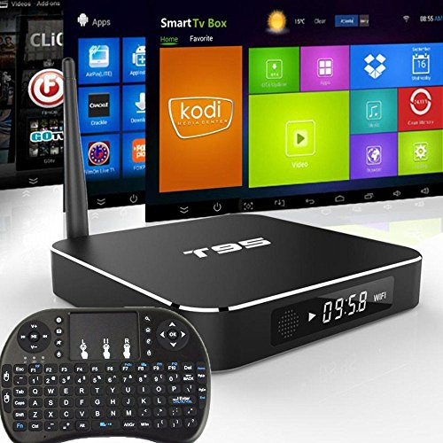 T95 Google Android 5.1 TV Box IPTV Player Amlogic S905 1G 8G Dual WIFI 2.4GHz/5.0GHz Kodi 16.0 Bluetooth 4.0 HD Streaming Media Player with I8 3-in-1 Wireless Keyboard
