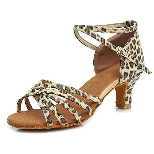 SWDZM Damen Ausgestelltes Tanzschuhe/Standard Latin Dance Schuhe Satin Ballsaal ModellD213-7 Leopard (Absatz-5cm)