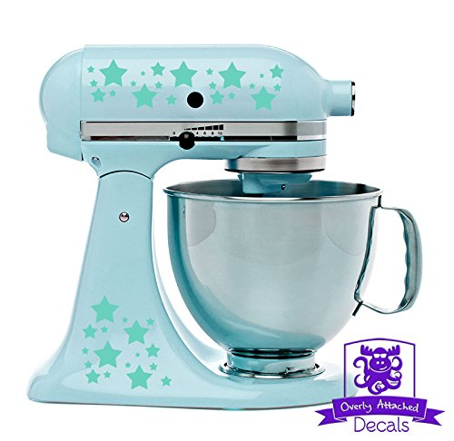 Star Patterned Kitchen Stand Mixer Front/Back Decal Set - Mint