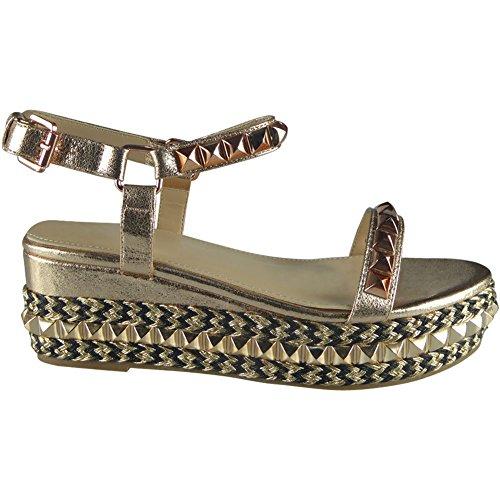 Damen Verziert Knöchel Gurt EspadrillesPlattform Keil Sandalen Größe 36-41 Gold