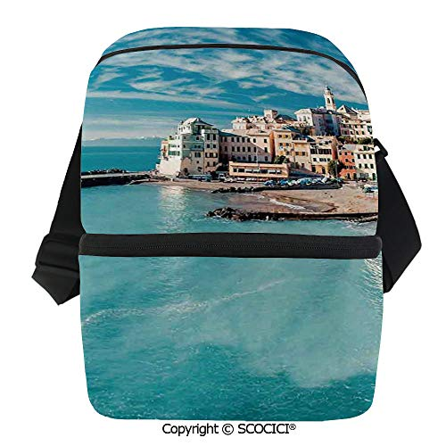 Charm Fruit Italian (SCOCICI Collapsible Cooler Bag Panorama of Old Italian Fish Village Beach Old Province Coastal Charm Image Insulated Soft Lunch Leakproof Cooler Bag for Camping,Picnic,BBQ)