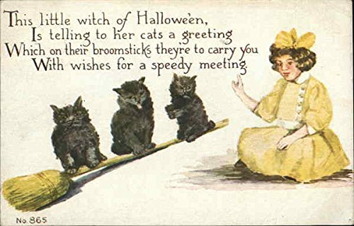 Little Witch with Broomstick and Three Black Cats Halloween Original Vintage Postcard ()