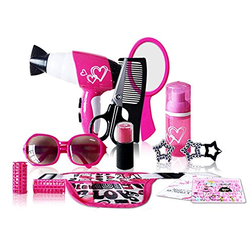 Pretend Hair Salon kit, Beauty Salon Fashion Play Set with Hairdryer, Mirror & Hair Styling Accessories with a Beauty Waist - Glasses Fake Real