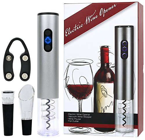 (Galashield Electric Wine Bottle Corkscrew Opener Gift Set with Foil Cutter, Wine Pourer and Vacuum Wine Stopper (Stainless Steel))