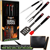 iBoost 4-Piece Heavy Duty Stainless Steel BBQ Grill Set, Barbeque & Grill Utensil Tools with Free Grill Mat, Tongs, Spatula, Fork, and Basting Brush