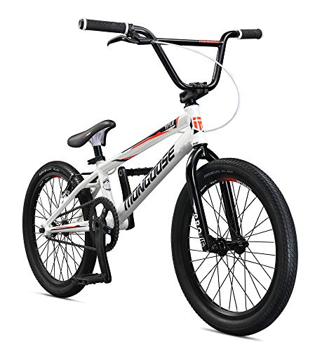Mongoose Title Elite Pro XL BMX Race Bike for Advanced Riders, Featuring Professional-Grade 6061 Tectonic T1 Biaxial Hydroformed and Butted Aluminum Frame with 20-Inch Wheels, White