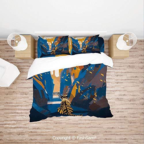FashSam Duvet Cover 4 Pcs Comforter Cover Set African Tiger in City Streets Narrow Walls Digital Jungle Savannah for Boys Grils Kids(Single)