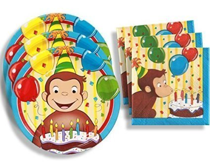Curious George Birthday Party Supplies Set Large Plates & Napkins Tableware Kit for 16 ()