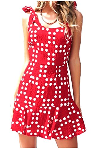 Polka Coolred Dot Stampa Chiffon Rosso Sleeveless donne Strappy Sexy Backless wxggEB