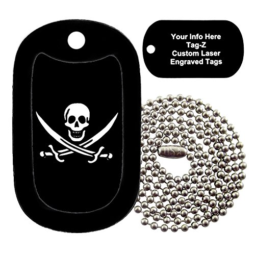 Military Dog Tags - JOLLY ROGER SWORDS - ENGRAVED Military Dog Tag Necklace - Tag-Z (Pendant Dog Sword Tag)