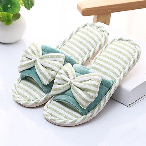 lindo el Home Zapatillas hembra zapatillas Green verano home de cool inferior piso algodón zapatillas indoor DogHaccd macho grueso zapatillas antideslizante en par axw5Bdzxq