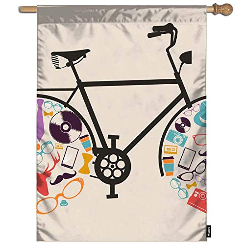 Mugod Bicycle Garden Flag Hipster Bicycle with Retro Fashion Icon Set Wheels Decorative Spring Summer Outdoor House Flag for Garden Yard Lawn 28 x 40 Inch