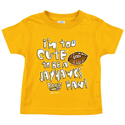 Smack Apparel Missouri Tigers Fans. I'm Too Cute To Be a Jayhawks Fan. Gold Toddler Tee (2T-4T) (2T). - Missouri Tigers Fan Gear