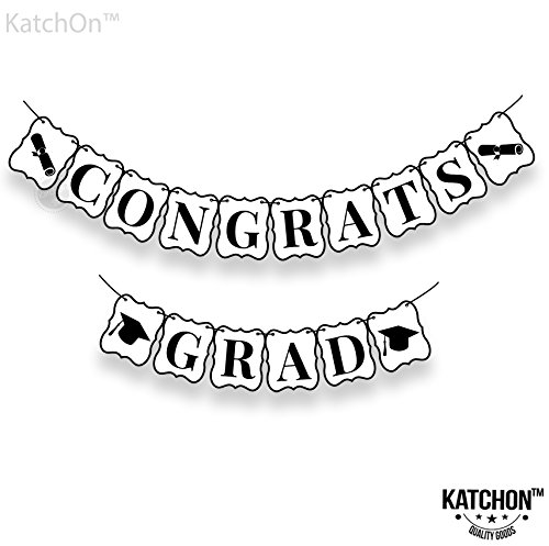 Congrats Grad Banner, Graduation Decorations - Black and White | No-DIY Required | Graduation Banner for Graduations Party Supplies 2018, Grad Party Decor| Large | 8 x 6 Inches