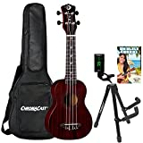 Luna Vintage Mahogany Soprano Ukulele with ChromaCast Accessories, Red Satin