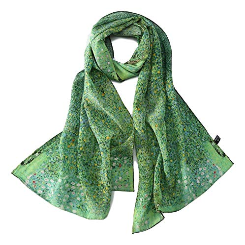 Long Crepe Silk Scarf Classic Art Print (Green Floral)