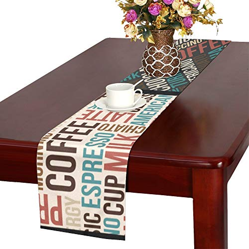 WHIOFE Letter Fashion Design Retro Modern Digital Mashup Doodle Style Table Runner, Kitchen Dining Table Runner 16 X 72 Inch for Dinner Parties, Events, - Latte Cafe Table Runner