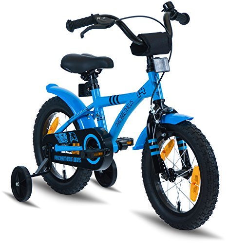 "PROMETHEUS Kids bike 14 inch Boys and Girls in Blue & Black with stabilisers | Aluminum Calliper brake and backpedal brake | including security package | as from 4 years | 14"" BMX Edition 2018 by PROMETHEUS BICYCLES®"