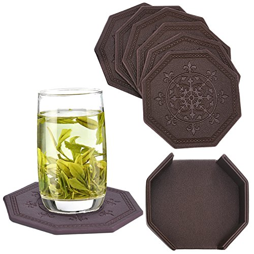 Drink Coasters,Set of 6 with Holder,Unique Octagonal Absorbe