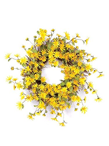 Melrose International Yellow Daisy Wreath,