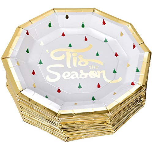 50 Christmas Plates 9 in Elegant Decagon Shape with Gold Foil Merry Christmas and Tree Design in Red Green and Gold for Disposable Holiday Dinner Paper Party Supplies