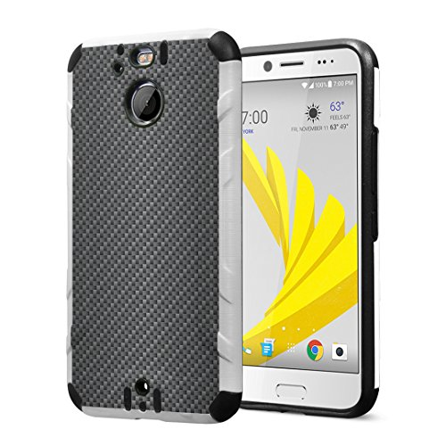 Combat Evo Carbon - Capsule Case Compatible with HTC Bolt, HTC 10 Evo, Dual Layer Slim Defender Armor Combat Case Black & White - (Carbon Fiber Print)