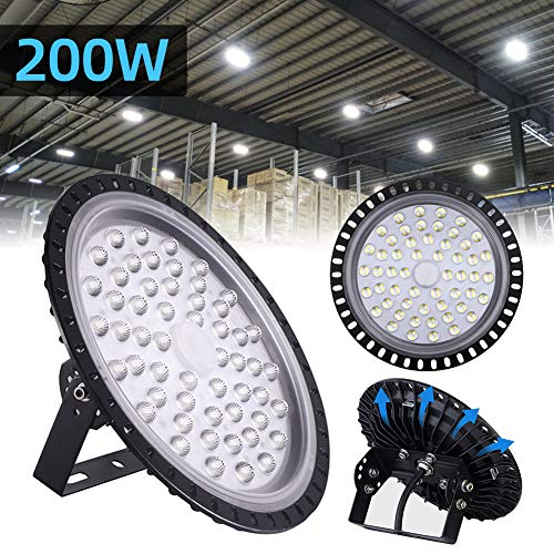 200W UFO LED High Bay Light lamp Factory Warehouse Industrial Lighting 20000 Lumen 6000-6500KIP65 Warehouse LED Lights- High Bay LED Lights- Commercial Bay Lighting for Garage Factory Workshop Gym (Warehouse Lighting)