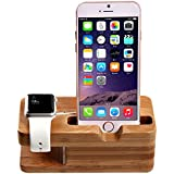 Watch Stand, AICase iWatch Bamboo Wood Charging Dock Charge Station Stock Cradle Holder for Apple Watch & iPhone X/ 8/8 Plus/ 7 Plus 6 6 plus 5S 5 (Light Brown)