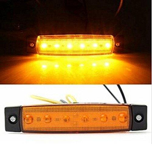 Northbear 6 LED Side Markers Indicator Tail Stop Brake Light Super Bright LED Bulb (12V, Yellow)