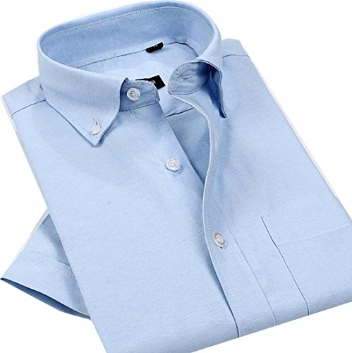 Macondoo Mens Solid Short Sleeve Oxford No-iron Comfort Dress Shirts Light Blue XL