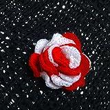 bimbabeautful Brand Handmade Crochet Applique Rose Flower Design Red And White 1 5 PCS For Girls