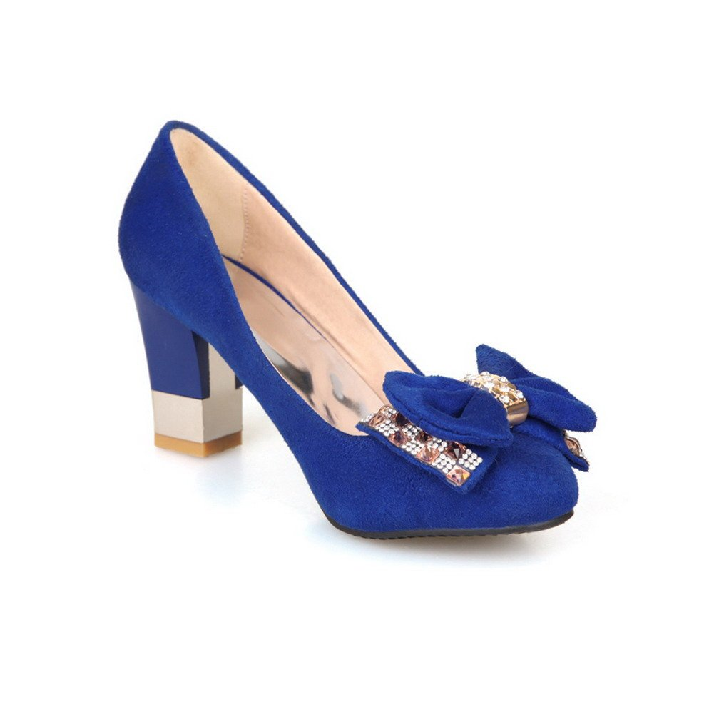 VogueZone009 Womens Closed Round Toe High Heel Frosted PU Solid Pumps whith Bowknot and Glass Diamond, Blue, 7.5 B(M) US