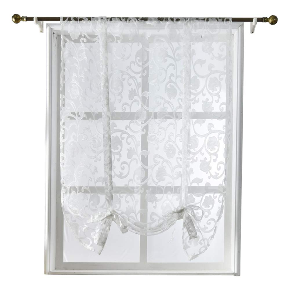 NAPEARL Tie Up Kitchen Curtain Valance Rod Pocket Sheer (42Wx63L, Cream)