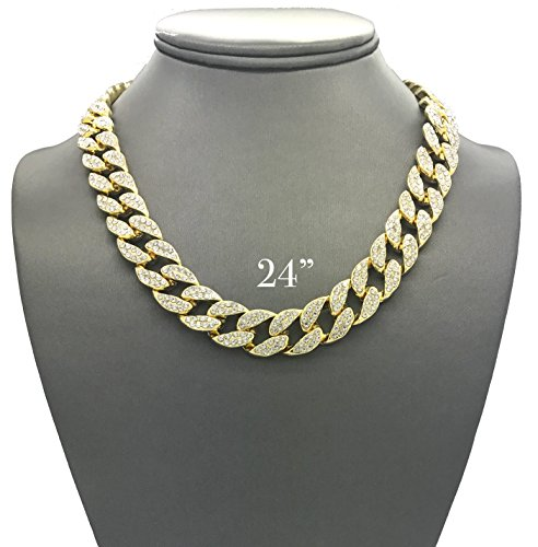 Iced Out Gold Chains - Mens Iced Out Hip Hop Gold tone CZ Miami Cuban Link Chain Choker Necklace (24