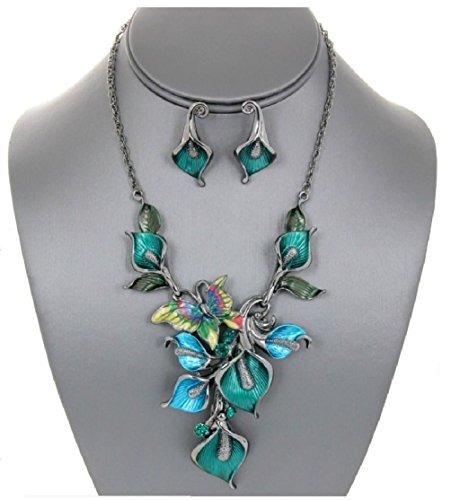 Gold Costume Ideas Dress Sequin (Teal Enamel Lily Flowers with Butterfly Chain Necklace N' Earrings Set)