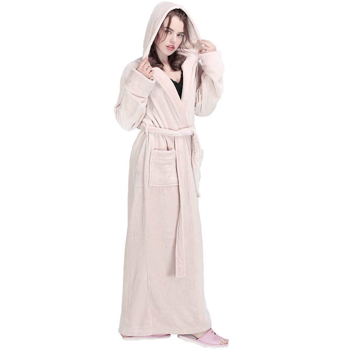 5704b57b62ee Womens Winter Hooded Extra Long Warm Flannel Bathrobes Luxury Fleece Plush  Robe at Amazon Women s Clothing store