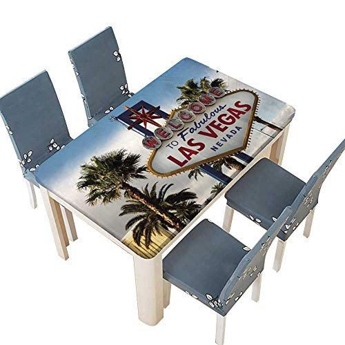 PINAFORE Solid Tablecloth Welcome to Las Vegas Nevada Skyline City Limit Street Sign Table Cover W25.5 x L65 INCH (Elastic Edge) ()