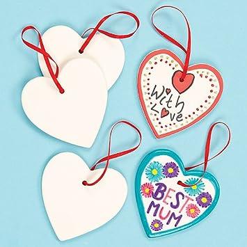 Anhänger Aus Keramik U0026quot;Herzu0026quot; Zum Gestalten Und Basteln Für Kinder  Ideal Zum Valentinstag