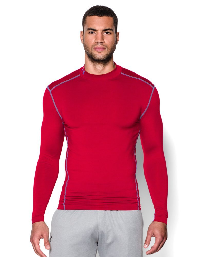 Under Armour Men's ColdGear Armour Compression Mock Long Sleeve Shirt, Red /Steel, X-Small