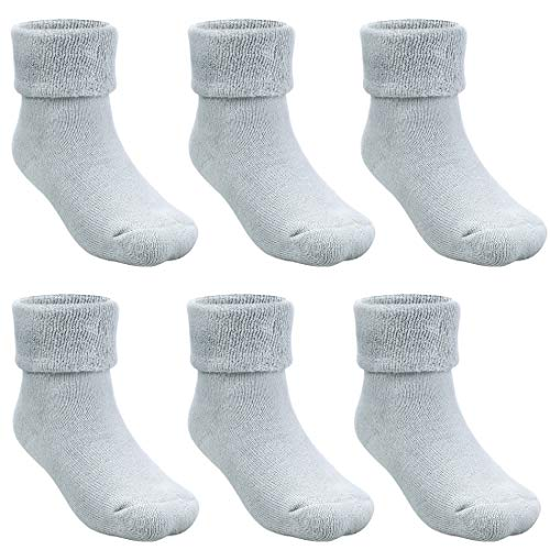 Cubaco 5 Pairs Baby Socks with Grips Thick Cotton Socks for Toddler Infant Baby Girl Baby Boy 0-3 Years Old, 5 Colors (Grey(6-Pairs), 1-3 Years)