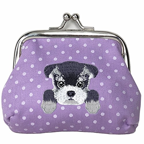 [ SCHNAUZER ] Cute Embroidered Puppy Dog Buckle Coin Purse Wallet [ Purple Polka Dots (Dot Buckle)