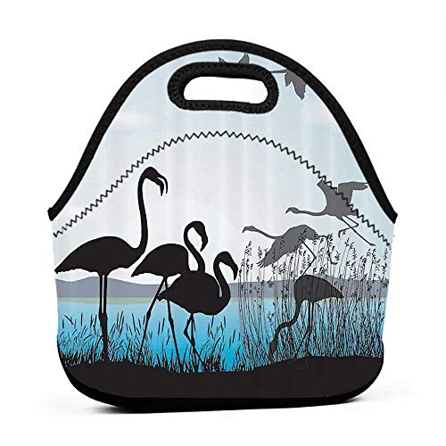 (Rugged Lunchbox Animal Shadow Decor Collection,Flamingo Silhouettes and Waterfront Walking Animals Design,Black Blue Turquoise,men lunch bag for work insulated)