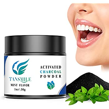 Activated Charcoal Teeth Whitening Powder, Tansmile Natural Coconut Charcoal Whitening Powder Black Charcoal Teeth Whiter Kit Teeth Stains Remover Bamboo Powder (1 OZ)